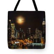 Super Moon Over Nyc Tote Bag by Susan Candelario