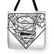 Superman And Doomsday Pen And Ink Tote Bag