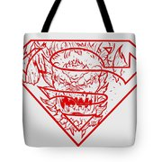Superman And Doomsday Red Tote Bag