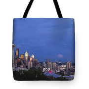 Supermoon Moonrise Over Seattle Skyline Tote Bag