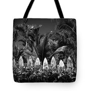 Surf Board Fence Maui Hawaii Black And White Tote Bag by Edward Fielding