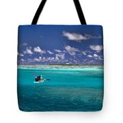 Surf Board Paddling In Moorea Tote Bag by David Smith
