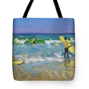 Surf School At St Ives Tote Bag by Andrew Macara