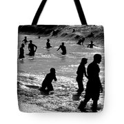 Surf Swimmers Tote Bag by Sean Davey