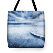Surfboard On The Beach Tote Bag