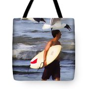 Surfer And The Birds Tote Bag