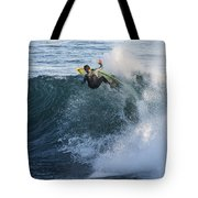 Surfer At Steamer Lane Tote Bag by Bruce Frye
