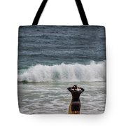 Surfer Checking The Waves Tote Bag
