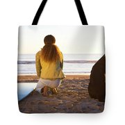 Surfer Woman And Dog On Beach Tote Bag