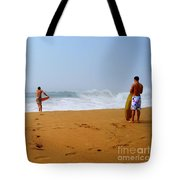 Surfers At Newport Beach Tote Bag