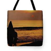 Surfing At Sunset Tote Bag by Anonymous