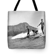Surfing In Honolulu Tote Bag