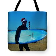 Surfing Santa Cape Hatteras Lighthouse 3 12/19 Tote Bag