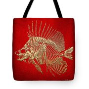 Surgeonfish Skeleton In Gold On Red  Tote Bag