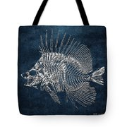 Surgeonfish Skeleton In Silver On Blue  Tote Bag