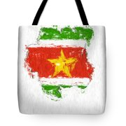 Suriname Painted Flag Map Tote Bag