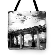 Surreal Augusta Georgia Black And White Infrared  - Riverwalk River Front Park Garden   Tote Bag