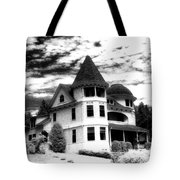 Surreal Black White Mackinac Island Michigan Infrared Victorian Home Tote Bag