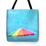 Surreal Blue Summer Beach Ocean Coastal Art - Beach Umbrella  Tote Bag by Kathy Fornal
