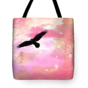 Surreal Dreamy Fantasy Ravens Pink Sky Scene Tote Bag by Kathy Fornal