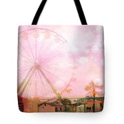 Surreal Dreamy Pink Myrtle Beach Ferris Wheel Tote Bag