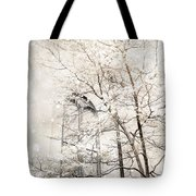 Surreal Dreamy Winter White Church Trees Tote Bag