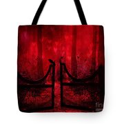 Surreal Fantasy Gothic Red Forest Crow On Gate Tote Bag