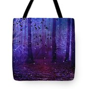 Surreal Fantasy Starry Night Purple Woodlands - Purple Blue Fantasy Nature Fairy Lights  Tote Bag
