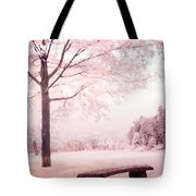 Surreal Infrared Dreamy Pink And White Park Bench Tree Nature Landscape Tote Bag