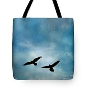 Surreal Ravens Crows Flying Blue Sky Stars Tote Bag