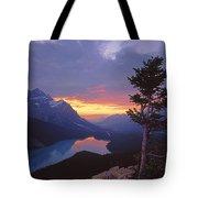 1m3607-sunset Over Peyto Lake Tote Bag
