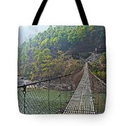 Suspension Bridge Over The Seti River In Nepal Tote Bag