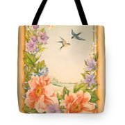 Swallows And Peonies Tote Bag