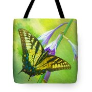 Swallowtail Visits Hosta Flowers Tote Bag