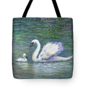 Swan And One Baby Tote Bag
