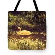 Swan At The Golden Lake Tote Bag