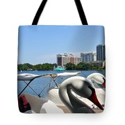 Swan Boats And Buildings Tote Bag