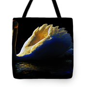 Swan In Golden Light Tote Bag