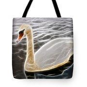 Swan In The Water Fractal Tote Bag