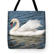 Swan On Blue Waves With Border Tote Bag