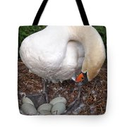 Swan Watching Over The Eggs Tote Bag