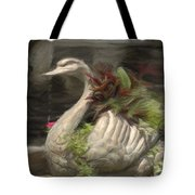 Swan With Beautiful Flowers Tote Bag