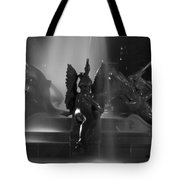Swann Fountain At Night In Black And White Tote Bag