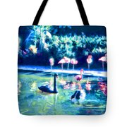 Swans And Flamingos Tote Bag