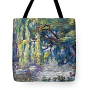 Swans Family . Forest Of Boulogne  Tote Bag