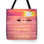 Swans On The Lake Tote Bag by Jon Neidert
