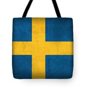 Sweden Flag Vintage Distressed Finish Tote Bag