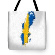 Sweden Painted Flag Map Tote Bag
