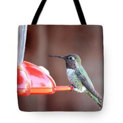 Sweet Little Hummingbird On Feeder Tote Bag