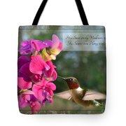 Sweet Pea Hummingbird Iv With Verse Tote Bag by Debbie Portwood